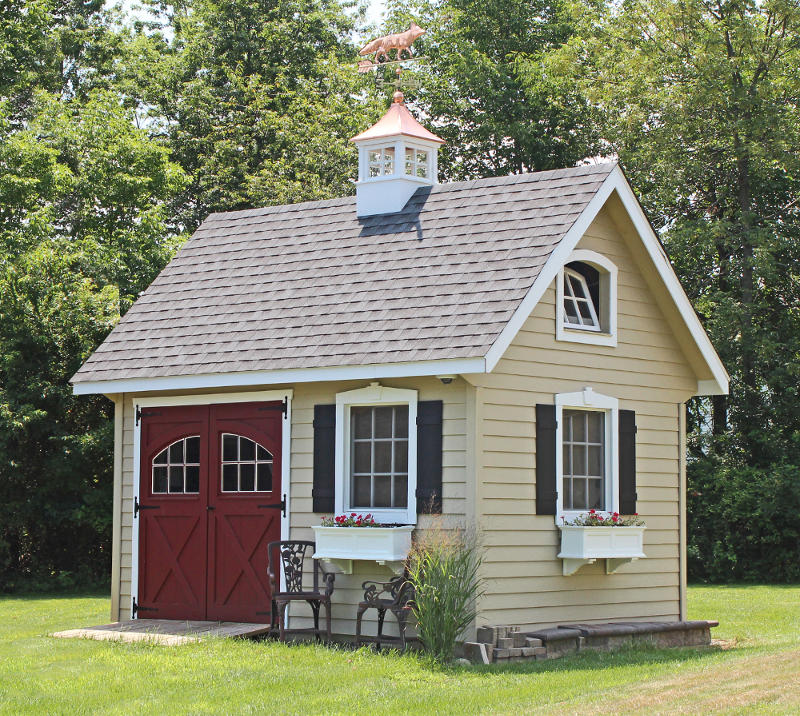 One Car Garage With Lap Siding 69471am: Lapp Structures Victorian Amish Poolhouse, Cabana
