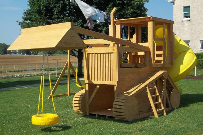 Pressure Treated Wood Outdoor Track Loader Swingset