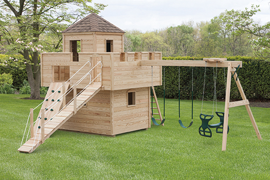 Pressure Treated Wood Outdoor Fort Playset - Wood backyard playsets