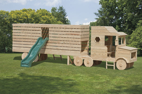 Relatively Pressure Treated Wood Outdoor Semi Truck Playset QQ66