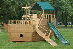 Pressure Treated Outdoor Playground Swingsets Ship Firetruck